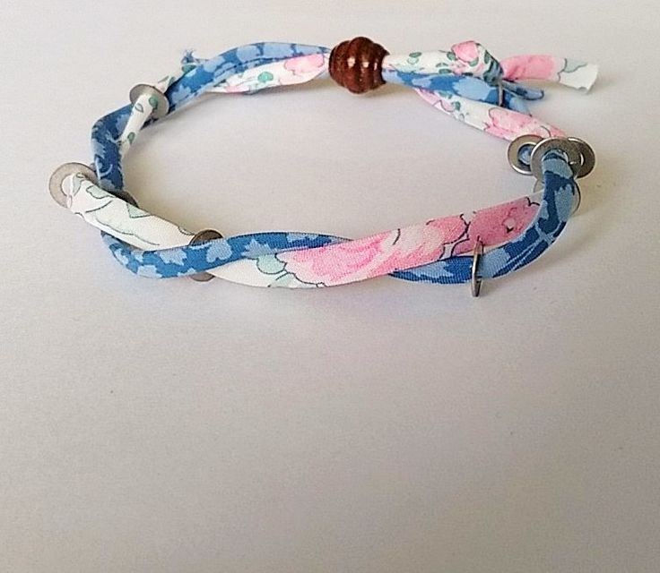 Liberty Print Fabric Bracelet woven with metal by BeelineEmporium on Etsy