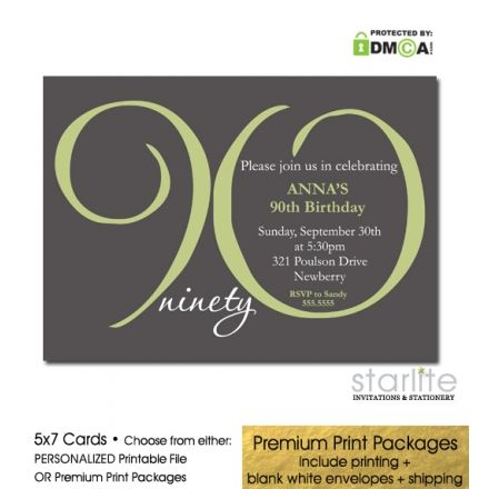 Dark Grey + Sage Green 90th Birthday Invitation - Modern Number - Available in Choice of Personalized Printable Invitation or Premium Printed Invitation Packages which include envelopes and expedited UPS shipping.  http://starliteprintables.indiemade.com/product/dark-grey-sage-green-90th-birthday-invitation-modern-number