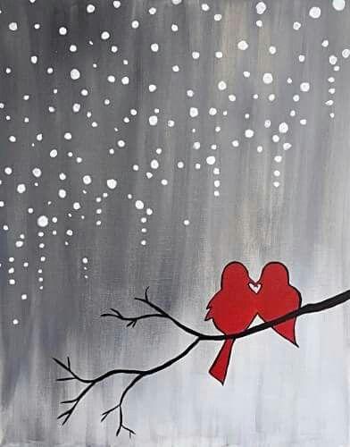 Lovebirds, cardinals in the snow, beginner painting idea.
