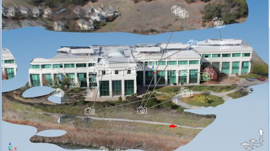 Autodesk software works with an unmanned aerial vehicle to make a 3D model of their corporate headquarters.