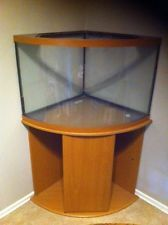 36 Gallon corner fresh water fish tank, includes filter and light. I want black base tho