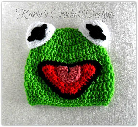 Kermit the Frog , Muppet , Handdmade , Phot Prop , Crochet Hat Beanie