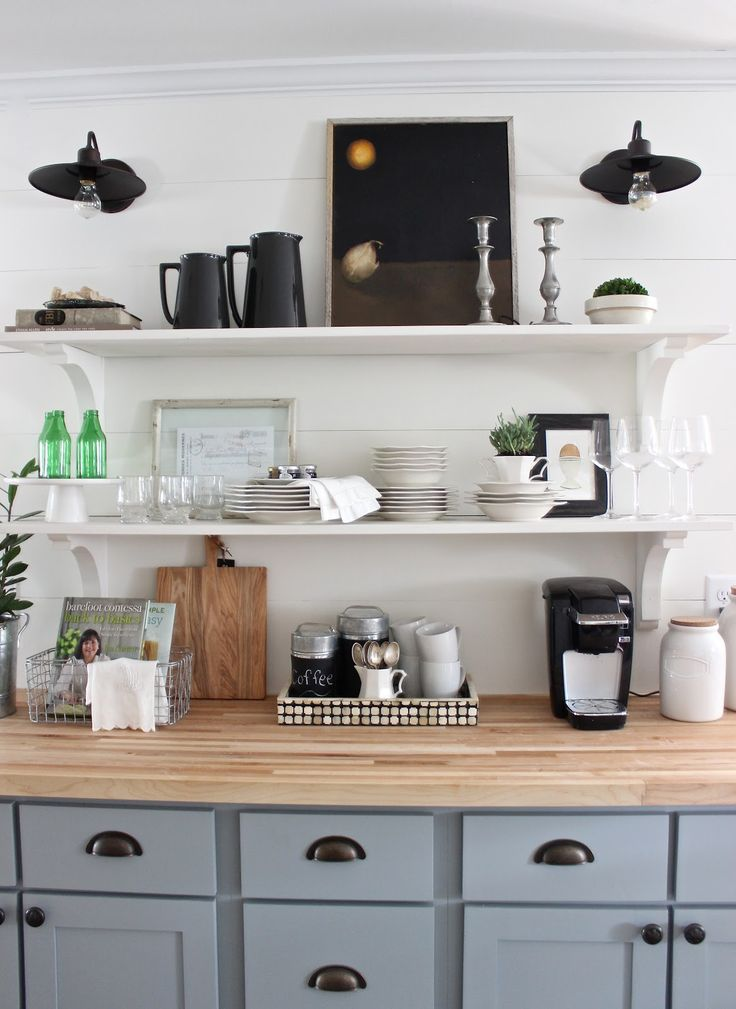 274 best coffee bar ideas images on pinterest home ideas buffets and farmhouse kitchens - Delightful kitchen decoration with various home kitchen bar shelving ideas ...