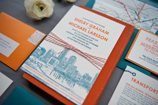 Boston-themed wedding invitation suite. Outstanding in every way. Love the type, letterpress, colors, and calligraphy.