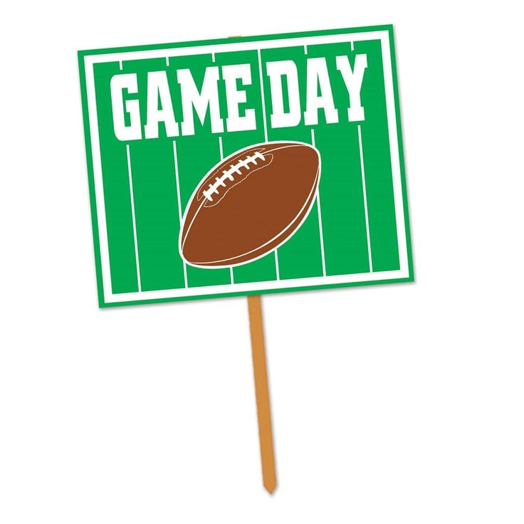 """Pack of 6 Green, White and Brown Football Game Day"""" Yard Sign Sports Party Decorations 24"""""""