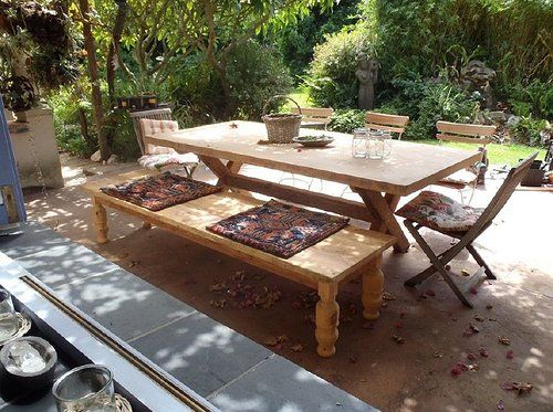 Reclaimed Oregon Pine Table and Bench