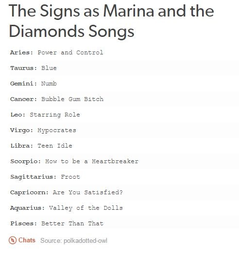 Zodiac Signs as Marina and the Diamonds Songs | we are the