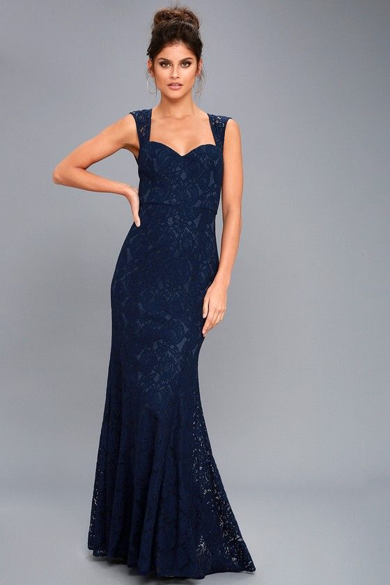 9052122db30 I would love this more if it wasn t all lace    The design is what we re  looking for though! Rosetta Navy Blue Lace Maxi Dress 2
