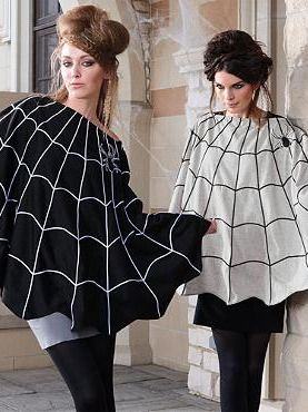 Incorporate spooky Halloween spirit into your wardrobe this Halloween season with the Spider Web Poncho.