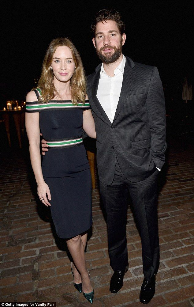 Night on the town: Emily Blunt and husband John Krasinksi attended the Vanity Fair and Bar...
