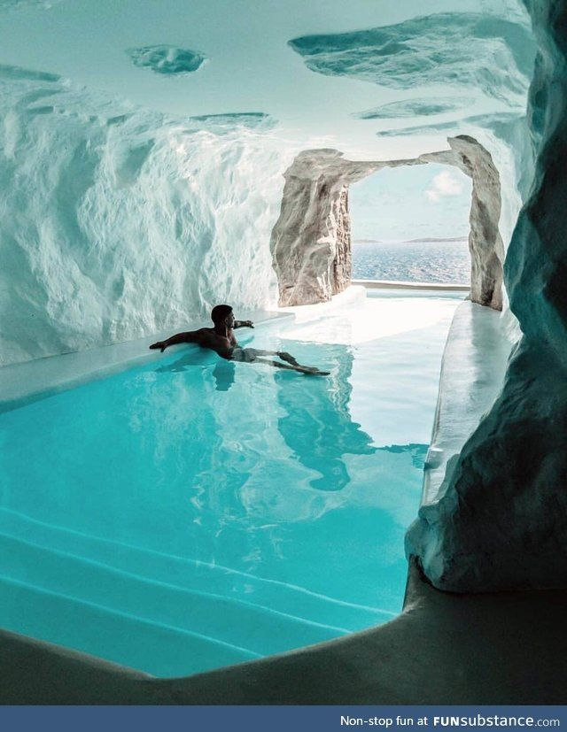 "The ""Cave Suite"" in a Mykonos hotel in 2019 