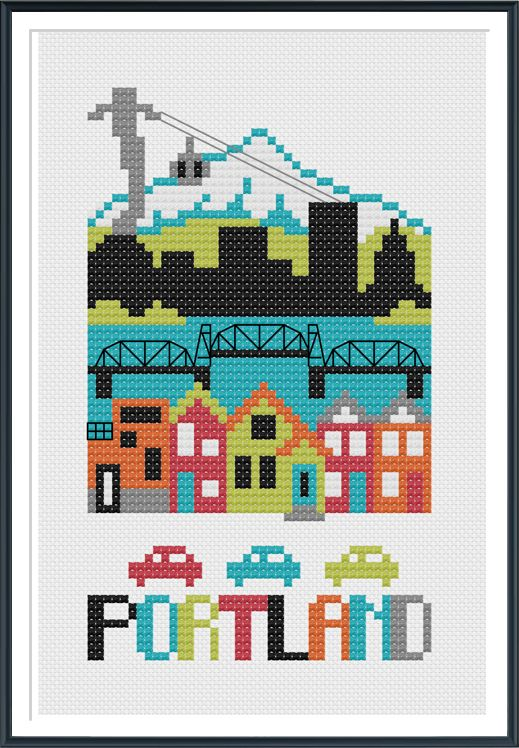Portland Cross Stitch Pattern Instant Download