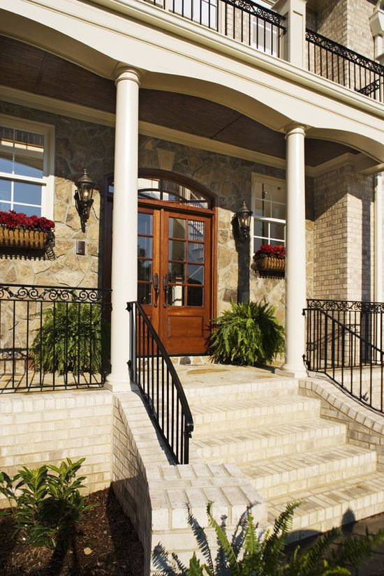 28 best front railings images on pinterest wrought iron railings banisters and front porch for Decorative metal columns exterior