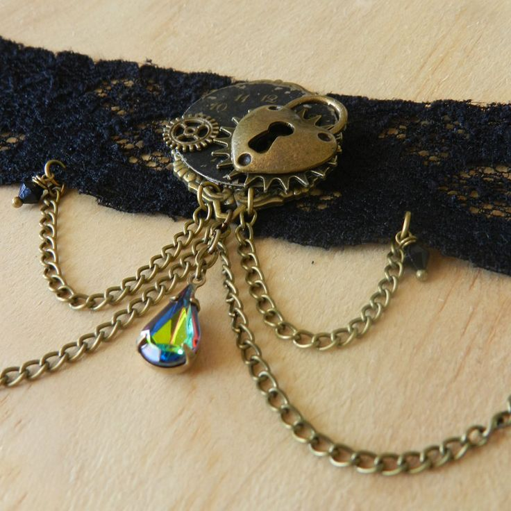 Image of Gorgeous Steampunk Clockwork Heart Choker Necklace