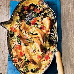 Recept - Spinazie-broodschotel met ham - Allerhande