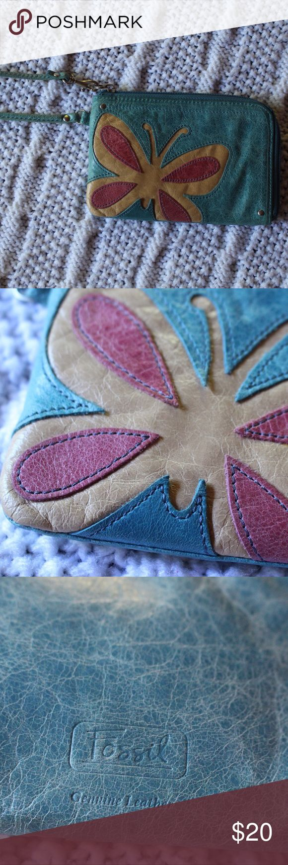 Fossil butterfly wallet wristlet Great for summer day vibes - great condition and hardly used! - fossil genuine leather - a perfect inside compartment with card slots 👍🏼 Fossil Bags Clutches & Wristlets