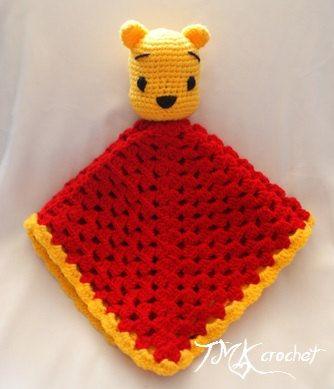 Winnie the Pooh Crochet Lovey Blanket Pattern. Security Blanket. PDF