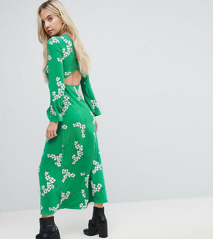 ASOS PETITE Maxi Tea Dress With Open Back In Green Floral - Green