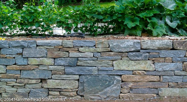 Drystone retaining wall, strong and beautiful Hooper's Creek stone - tightly stacked, well coursed, nice color blend