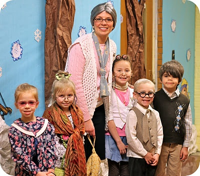 100th day of school - students & teacher dressed like they were 100 years old.