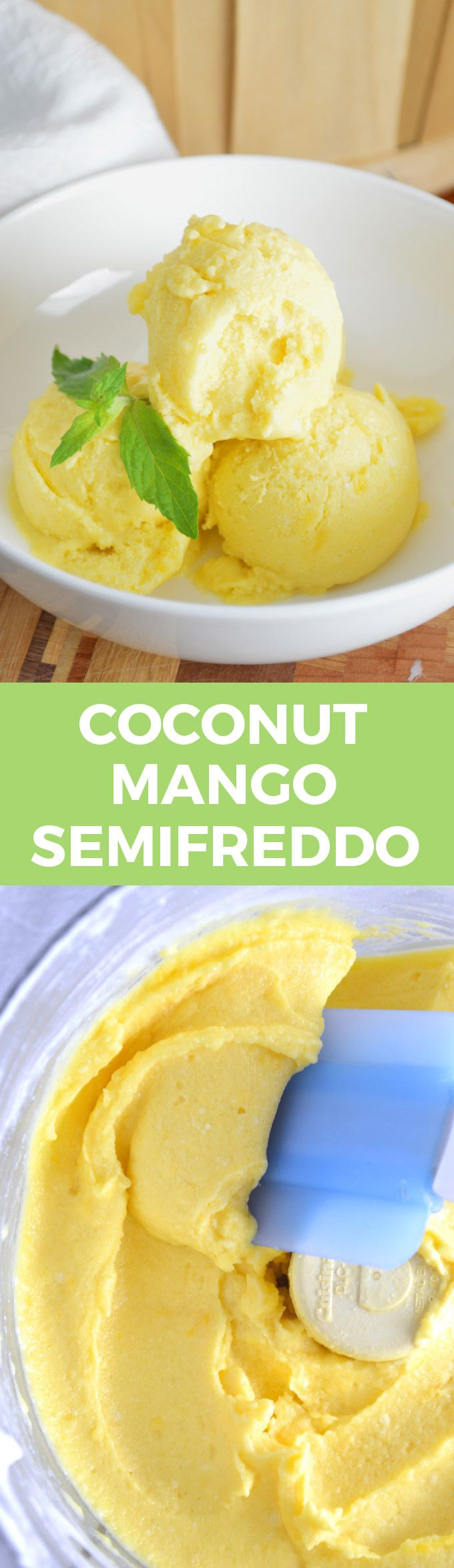 Coconut Mango Semifreddo -- 2 ingredients and 5 minutes to a delicious, refreshing dessert!!