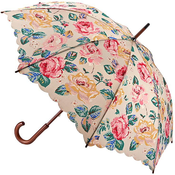 Forest Rose Taupe Kensington Walking Length Umbrella - British Bird Grey - Brolliesgalore