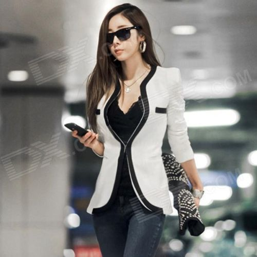 Women's Slim Blazer with Piping Detail - White + Black (Size L)