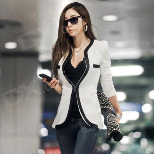 Women's Slim Blazer with Piping Detail - White + Black (Size L)