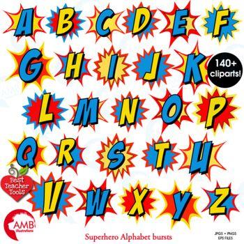 Superhero Clipart Letters Clipart, Letters Bursts, Alphabe