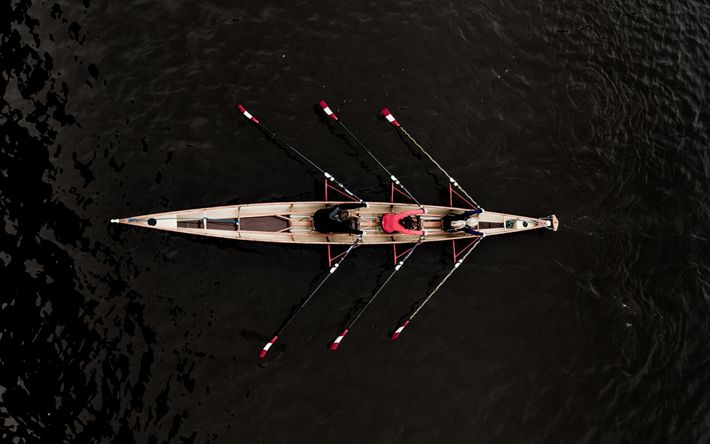 Download wallpapers rowing, canal, river, boat, athletes, boating