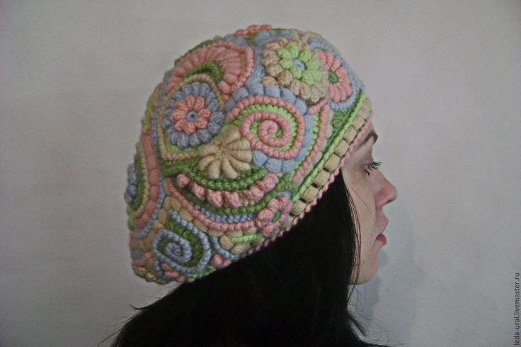 Купить Берет Сны о Лете - комбинированный, абстрактный, головные уборы для женщин, Вязание крючком
