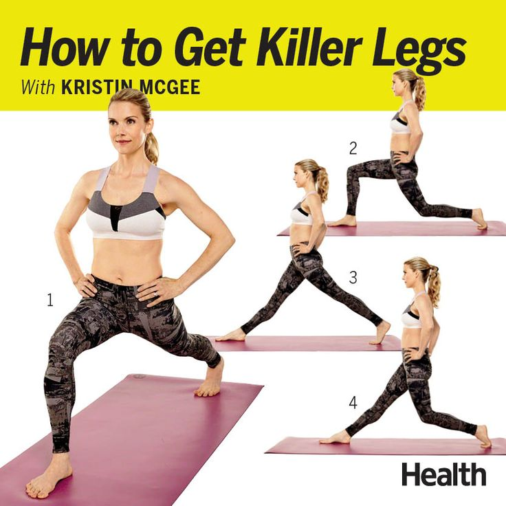 The trick to lean legs: lunges. In yoga, we do a variety of lunges, from Crescent Lunge to High Lunge to Warrior 1 and Warrior 2. This particular sequence is one of our favorites because in addition to defining your calves and quads, it activates your balance, core and brain. | Health.com