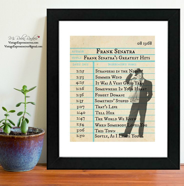 Frank Sinatra, Greatest Hits, Album, Songs, Library Card Art, Print by VintageExpression702 on Etsy
