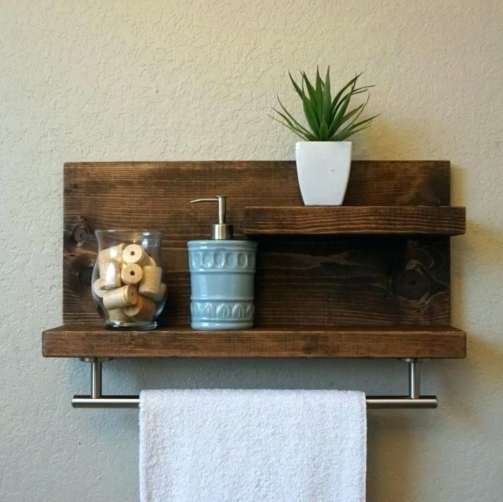 Wooden Towel Rack Wall Mounted Medium Size Of Shelf With Bar White Rail Wood Rope Ladde Rustic Bathroom Shelves Bathroom Wood Shelves Wooden Bathroom