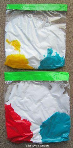 Child development lesson. Paint mixing sensory bags (scheduled via http://www.tailwindapp.com?utm_source=pinterest&utm_medium=twpin&utm_content=post100960699&utm_campaign=scheduler_attribution)