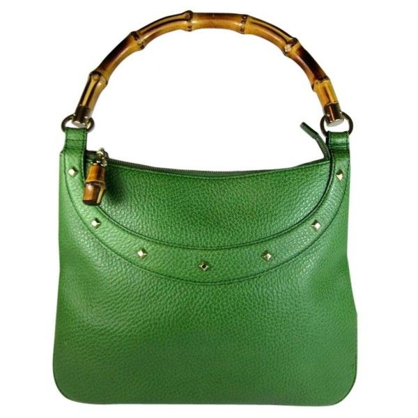 Pre-owned Bamboo Leather Handbag ($660) ❤ liked on Polyvore featuring bags, handbags, green, hand bags, man bag, green purse, gucci purse and real leather purses