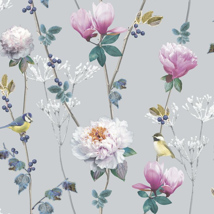 117 best flower wallpaper bedroom images on pinterest flower ella silver wallpaper by arthouse wallpaper directwhite wallpaperflower mightylinksfo