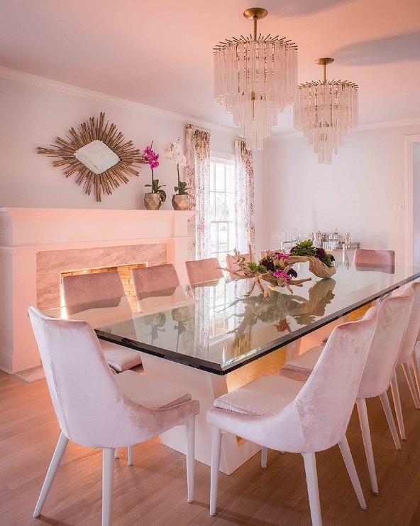 Modern Dining Table With A Glass Top And Beveled Edges