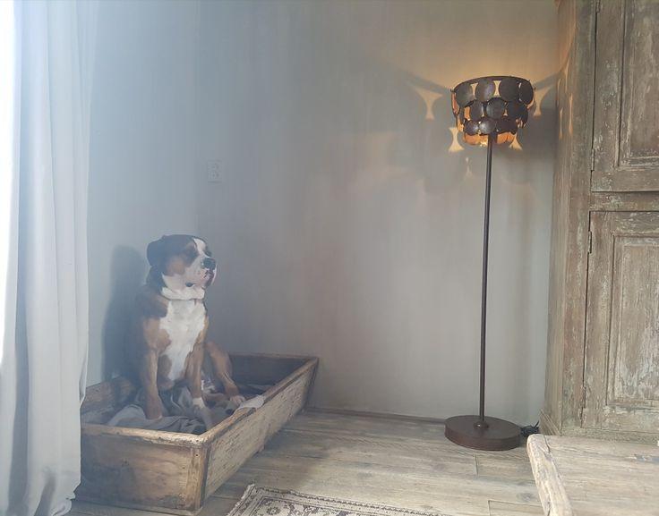 Staande schijfjeslamp Hoffz, oude marktbak uit China,  gebruikt als hondenmand,  oud hout, ijzeren handvatten, zwarte  patina. Alles via www.parvani.nl