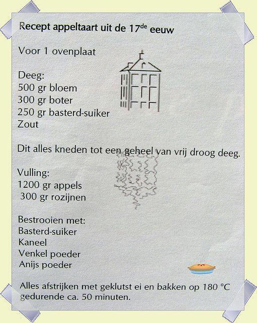 17e eeuwse appeltaart, recept van Hofwijck te Voorburg