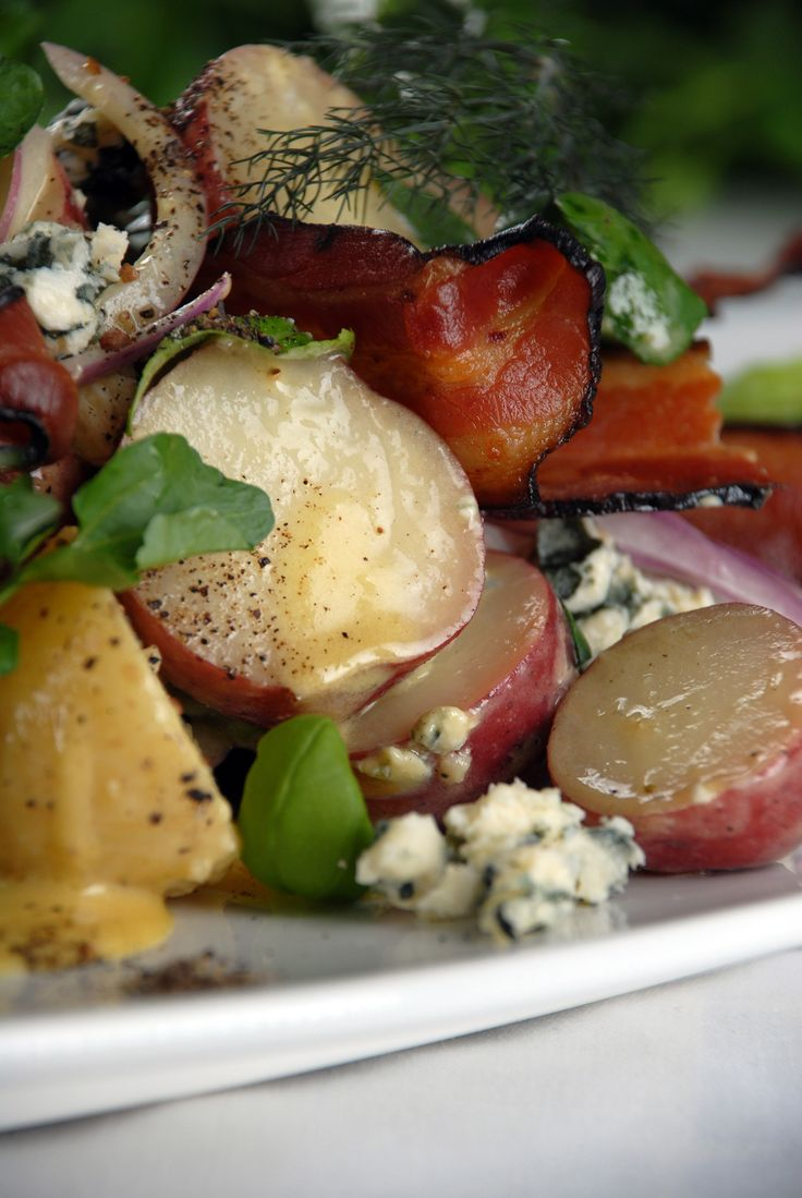 Perfect for picnics and BBQs! This warm Potato Salad with Blue Cheese ...