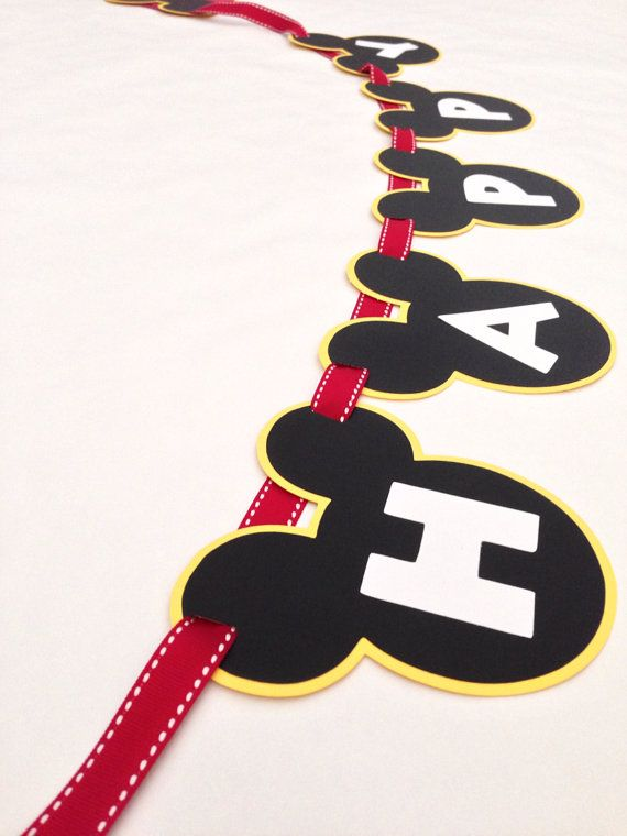 Mickey Mouse Birthday Party Banner by DivaDecorations on Etsy