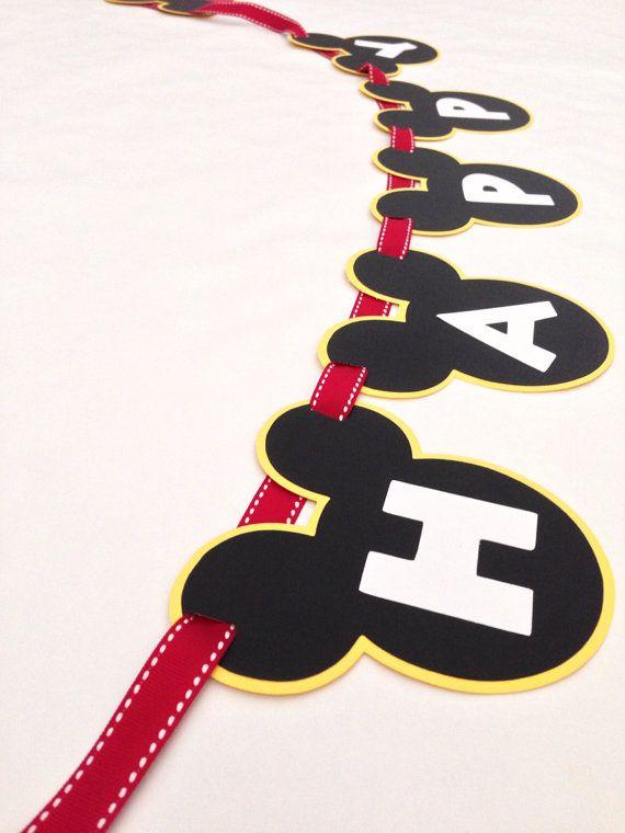 Bandera fiesta cumpleaños Mickey Mouse por DivaDecorations en Etsy