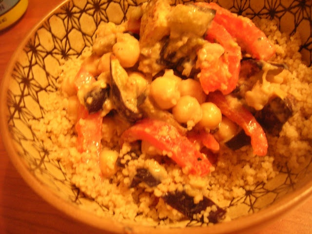 Tahini Couscous with Roasted Eggplant & Red Peppers