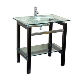 Kokols Tempered Glass Table Top Bathroom Sink Combo with Wood Shelf