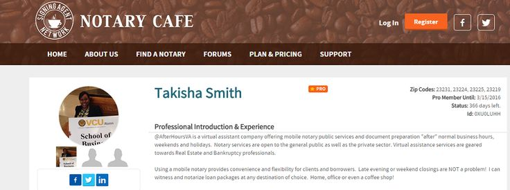 Finally updated my Notary Cafe profile. Loving the new website too! If you are not a pro member, join now for only $27 for a yearly membership until 3/22. https://notarycafe.com/Takisha.Smith