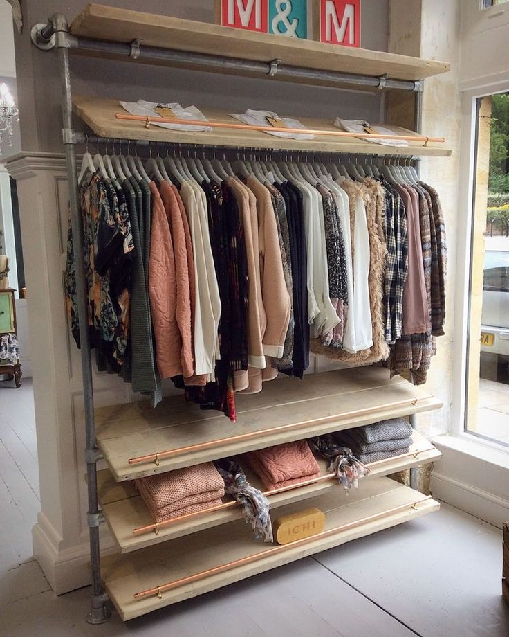 Clothes Rack Shoe Retail Display Handmade Rustic Industrial Scaffold Board  Plank