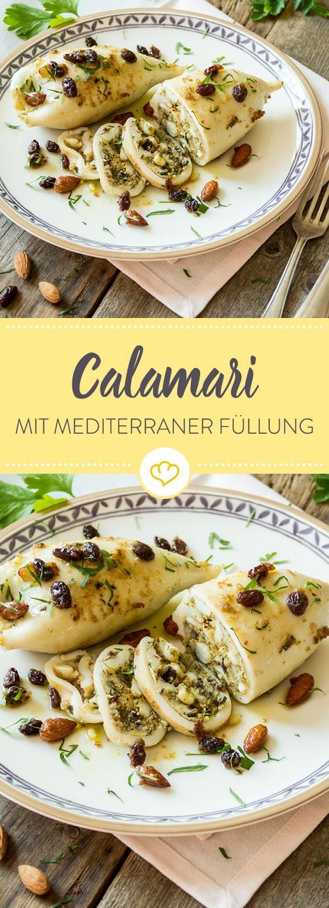 Diese Calamari kommen mit einer Füllung aus Kapern, Petersilie und Paniermehl auf den Teller, das Ganze getoppt von Mandeln und Rosinen.