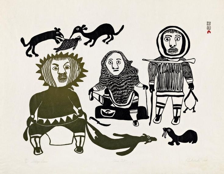 Kiakshuk - Strange Scene 23.5 x 30 stonecut on paper 1964-65 #28 of 50