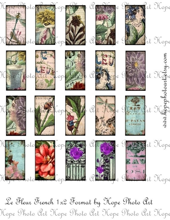 french le fleur 1x2 digital collage sheet jewelry tags glass domino dragonfly parisian garden. Black Bedroom Furniture Sets. Home Design Ideas